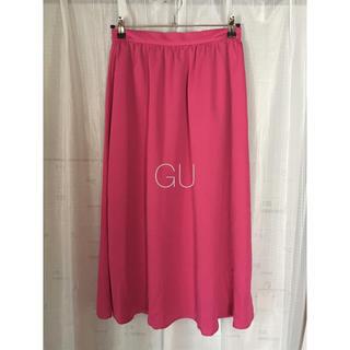 ジーユー(GU)の《新品》GU ロングスカート ピンク(ロングスカート)