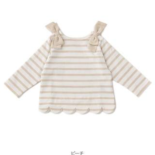 petit main - プティマイン♡スカラップラメボーダー肩リボンTシャツ