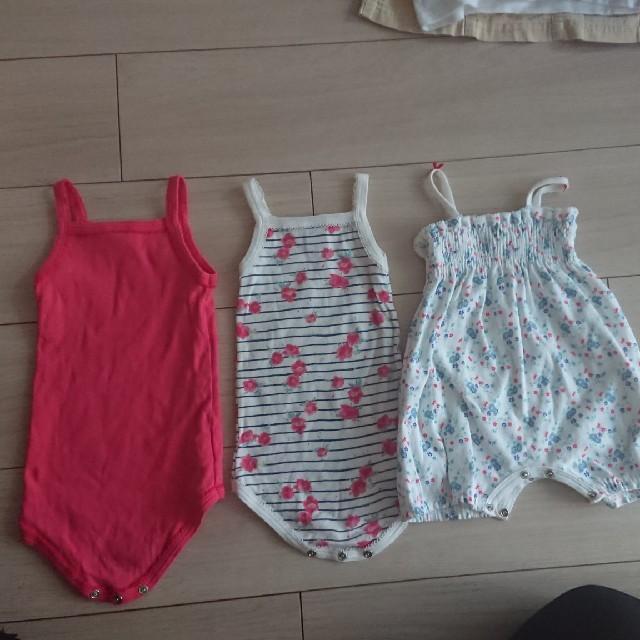 PETIT BATEAU(プチバトー)の【PETIT BATEAU】3枚セット プチバトー キャミソール ロンパース キッズ/ベビー/マタニティのベビー服(~85cm)(肌着/下着)の商品写真