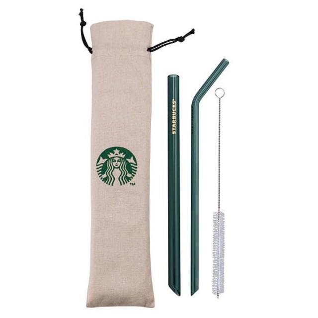 Starbucks Coffee(スターバックスコーヒー)のスターバックス:ストロー ポーチ付き ロゴ 台湾 スタバ ガラス インテリア/住まい/日用品のキッチン/食器(その他)の商品写真