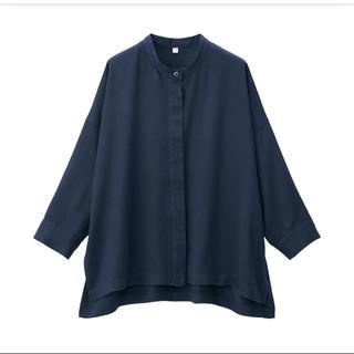 MUJI (無印良品) - 無印良品 リヨセルワイドシャツ ONE SIZE ダークネイビー