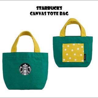 スターバックスコーヒー(Starbucks Coffee)のスターバックス ロゴトートバッグ 緑 黄色ドット(トートバッグ)