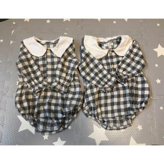 petit main - 韓国 ベビー ロンパース 丸襟 ギンガムチェック グレー