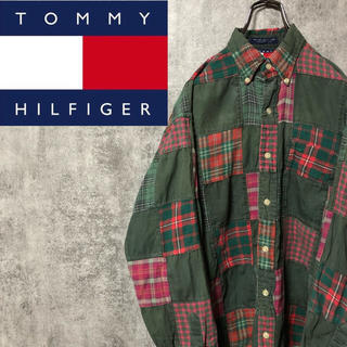 トミーヒルフィガー(TOMMY HILFIGER)の【激レア】トミーヒルフィガー☆無地チェック柄パッチワークシャツ 90s(シャツ)