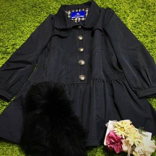 BURBERRY BLUE LABEL - burberryバーバリーブルーレーベル レディベーシックコート ファー襟付き