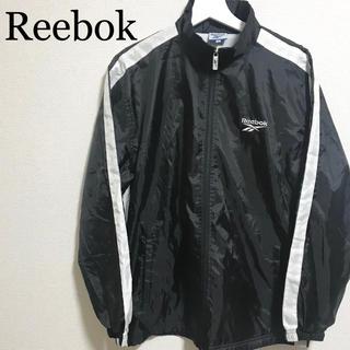 リーボック(Reebok)のリーボック ナイロンジャケット 黒 メンズL ベクターロゴ 刺繍(ナイロンジャケット)