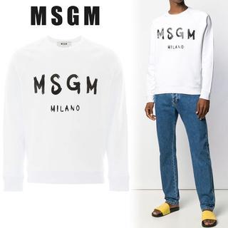 エムエスジイエム(MSGM)の4 MSGM ホワイト コットン MILANOロゴ スウェット トレーナ L(スウェット)