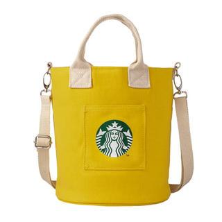 スターバックスコーヒー(Starbucks Coffee)のスターバックス スタバ 海外台湾 2020夏 イエローの巾着 ショルダーバッグ(トートバッグ)
