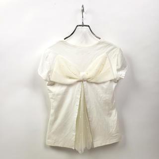 エムプルミエ(M-premier)のエムプルミエ ワイドクルーネックTシャツ チュールレース切替 バックリボン(Tシャツ(半袖/袖なし))