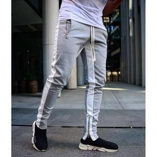 人気! メンズ サイドライン ジョガーパンツ ストリート スエット スリム 灰色