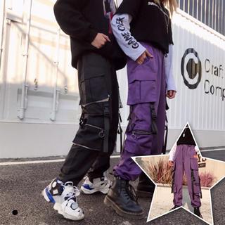 ストリート カーゴパンツ 紫と黒2色 スニーカーと相性抜群◎ 韓国ファッション