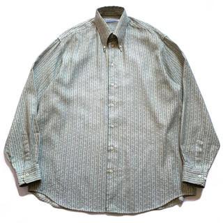 Emporio Armani - 希少80s90sエンポリオアルマーニ ストライプシャツ ベージュ白緑 古着 ML