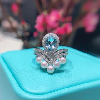 アコヤ真珠とアクアマリンのダイヤモンドリングセット