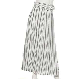 Mila Owen - ミラオーウェン ベルト付きスカート風ストライプワイドパンツ ガウチョパンツ