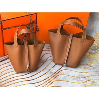 Hermes - ゴールドピコタンロングMM(22)茶色 ハンドバッグ