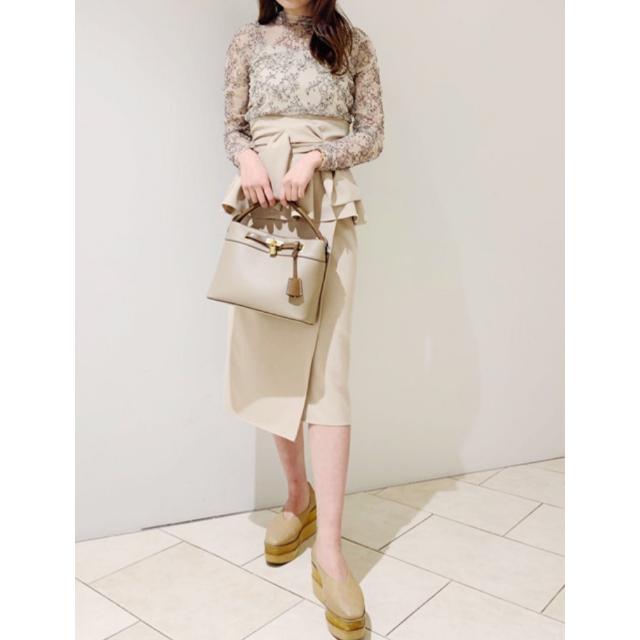 snidel(スナイデル)の雑誌掲載SNIDELスナイデル  リボンディテールポンチスカート レディースのスカート(ロングスカート)の商品写真