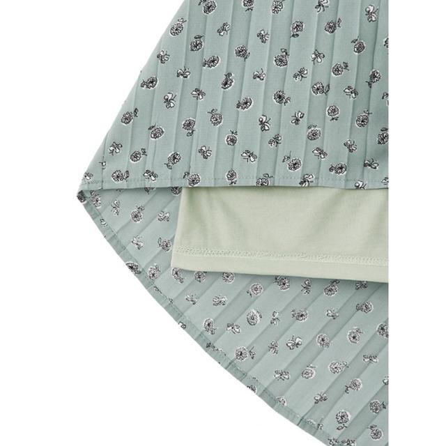 GRL(グレイル)のGRL 花柄プリーツ切り替えワンピース グリーン 新作 人気 韓国ファッション レディースのワンピース(ロングワンピース/マキシワンピース)の商品写真