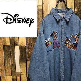 Disney - 【激レア】ディズニー☆ミッキーファミリービッグキャラ刺繍デニムシャツ 90s