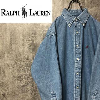 Ralph Lauren - 【激レア】ラルフローレン☆ワンポイント刺繍ロゴデニムシャツ 90s
