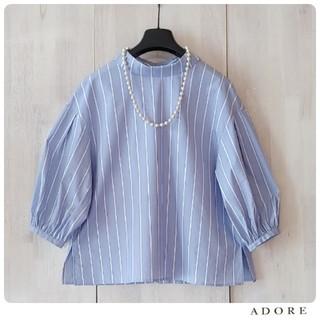 ADORE - ◆幻◆ 春夏美品 定価3万円 ADORE ストライプバックボタンブラウス
