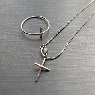ete - KBF クロスモチーフシトリンストーン付きネックレス&クロスモチーフリングセット