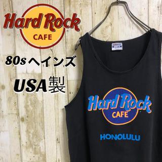 ヘインズ(Hanes)の【激レア】80年代 ヘインズ ハードロックカフェ ビッグロゴ タンクトップ L(タンクトップ)