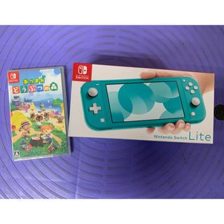 ニンテンドースイッチ(Nintendo Switch)のNINTENDO SWITCH LITE ターコイズ、あつまれどうぶつの森セット(携帯用ゲーム機本体)