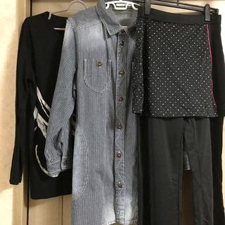 リュリュ(RyuRyu)の大きなサイズレディース ロンT デニムジャケット スカート付きジャージ(Tシャツ(長袖/七分))