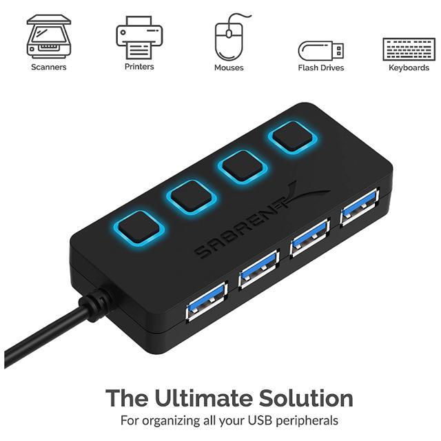 USB 3.0 ブルーLEDハブ [4ポート、個別スイッチ付き] スマホ/家電/カメラのPC/タブレット(PC周辺機器)の商品写真