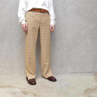 SUNSEA - HARD TWIST WOOL DOUBLE FACE CHECK SLACKS