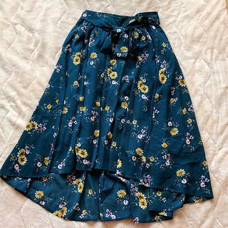 ハニーズ(HONEYS)のhoneys 花柄スカート グリーン(ひざ丈スカート)