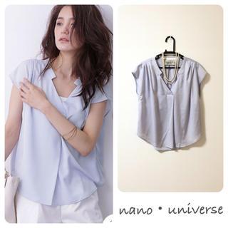 nano・universe - ナノユニバース 立衿 スキッパー ブラウス