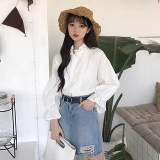 dholic - キレイ目フリルシャツ 白シャツ 韓国ファッション