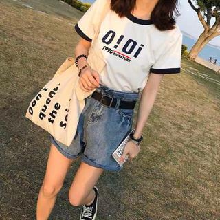 dholic - 韓国ファッションoioi Tシャツ  カットソー 2色展開  ホワイト