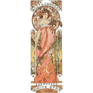 ミュシャ「モエ・エ・シャンドン ・ホワイトスター」クロスステッチ刺繍図案(型紙/パターン)