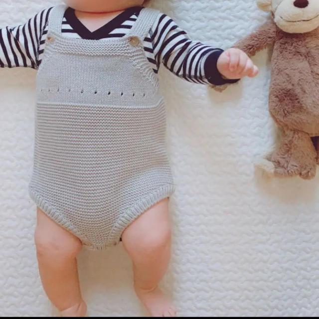 未使用 monbebe ニットロンパース  春 キッズ/ベビー/マタニティのベビー服(~85cm)(ロンパース)の商品写真