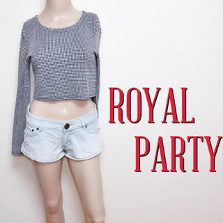 ROYAL PARTY - 鬼かわ♪ロイヤルパーティー 総千鳥 ストレッチトップス♡デュラス エモダ