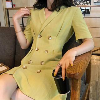 べっこう  ボタン スーツ ジャケット グリーン カーキ ワンピース(ひざ丈ワンピース)