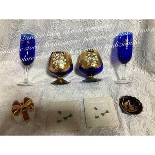 レア ボヘミアン グラス ベネチアン 食器 薔薇 リボン ジュエリーボックス等(食器)