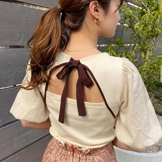 Lily Brown - LilyBrown 背中開きリボントップス&台形スカート