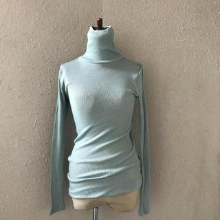 ダブルスタンダードクロージング(DOUBLE STANDARD CLOTHING)のダブルスタンダードミントグリーンシルク入りタートルリブカットソーむ(ニット/セーター)