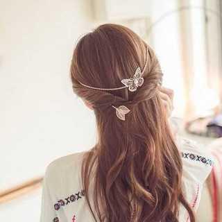 バタフライ 蝶 バックカチューシャ カチューシャ ヘアアクセサリー 髪飾り(カチューシャ)