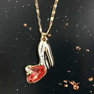 ネックレス ゴールド レッド シンデレラ ガラスの靴 ラインストーン キラキラ(ネックレス)