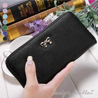 ★8カラー レディースワンポイントリボンロングウォレット★(財布)