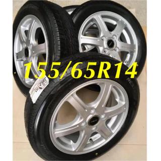 BRIDGESTONE - 155/65R14 新品タイヤと中古ホイールと新品ホイールナット付き