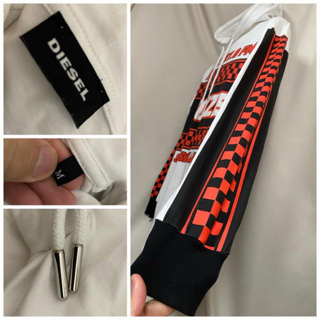 DIESEL(ディーゼル)のDIESEL ディーゼル ビッグシルエット プルオーバーパーカー M ホワイト メンズのトップス(パーカー)の商品写真