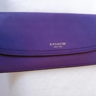 COACH コーチ 長財布  レザー お札入れ カードケース パープル(財布)