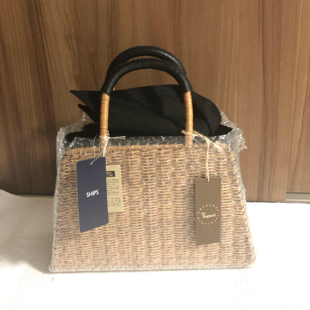 SHIPS for women(シップスフォーウィメン)のSHIPS ・BAGMATI:バスケット◇シップス・かごバッグ ブラック レディースのバッグ(かごバッグ/ストローバッグ)の商品写真
