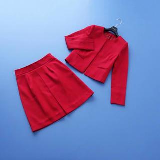 ANAYI - ■アナイ■ 36 レッド 横ウネ織 スカートスーツ ANAYI