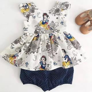 かわいい♡お得な2点セット♪白雪姫柄チュニック&ショートパンツ♪子ども服 キッズ(ブラウス)